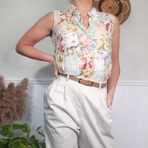 Vintage patchwork sleeveless blouse